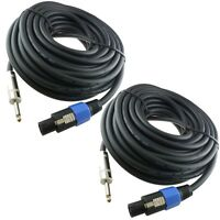 "2x 100 FT speakon to 1/4"" speaker cable DJ PA CABLE 12 Gauge 12GA"
