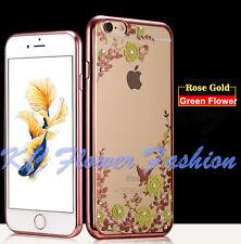 Flor de diamantes de lujo cromo parachoques claro caso cubierta trasera para Apple iPhone I5/I6