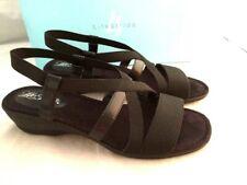 LifeStride Black Allure Low Wedge Heels Ankle Strap Sandals Womens Sz 8 M