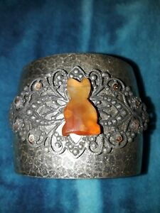 Upcycled Silver Tone Cuff Bracelet With Amber Colored Cat Gemstone And Crystals