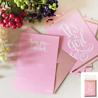 BABY SHOWER GIRL PINK POSTCARD INVITATIONS PACK OF 8 BABY SHOWER DECORATIONS