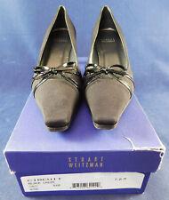 Unworn Vintage Stuart Weitzman Circuit Black Crepe Bow Square Toe Heels Shoes