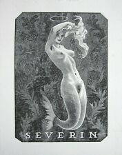 EX LIBRIS Bookplate 1951 Mark SEVERIN 124 mermaid sirène