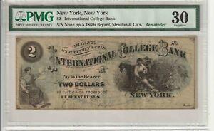 $2 INTERNATIONAL COLLEGE BANK OF NEW YORK  graded pmg vf30