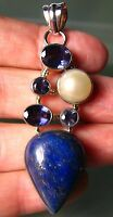 925 silver 15 gr multi-stone lapis lazuli, cut blue iolite & pearl pendant.