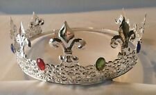 King's Crown - Silver plated metal with faux jewels - adjustable