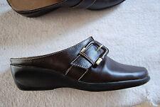 Dark Brown Leather AEROSOLES Low  Wedge Slides w/Strap & Big Buckle 9 M