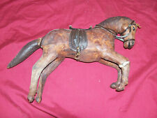Antique Primitive Leather Toy Model Horse Old Vintage Display Race Seabiscuit