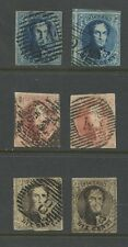 BELGIUM 1850 MEDALLIONS 6 stamps THICK PAPERS...IMPERFORATE SOUND USED
