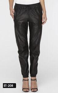Genuine Soft Lambskin Leather Slashed Pockets Jogger Sweat Pants
