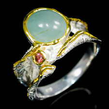 Handmade Natural Aquamarine 925 Sterling Silver Ring Size 8/R121260