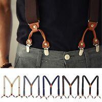 Mens Elastic Leather Suspenders Wide Suit Office Adjustable Braces Clip Holdup