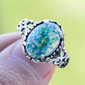 Fashion 925 Silver Green Fire Opal Ring Women Wedding Proposal Jewelry Size 6-10