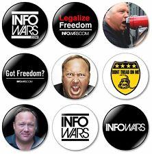 9 x Infowars 32mm BUTTON PIN BADGES Alex Jones Info Wars Truth Conspiracy 911