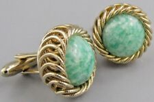 Excellent Mens Double Mint Green CUFFLINKS Costume Vintage Jewelry L 63