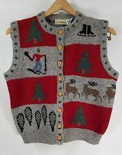 Beautiful Vintage Womens L.L. Bean 100% Wool Sweater Vest Christmas Ski - Med.