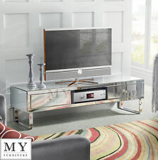 Mirrored TV cabinet stand media unit for flat screen TV small large 3 drawers