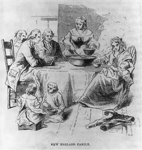 Photo:New England Family,Eating,Colonial Life,Children,men 8948