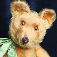 "RARE ANTIQUE JOSEF PITRMANN TEDDY BEAR 1930s 20"" CINAMON MOHAIR FUR w STEIFF DOG"