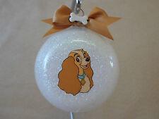 "Handmade Disney Lady & The Tramp ""Lady"" 3"" Glass Ball Ornament, USA Made!, NEW!!"