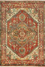 """Momeni Heirlooms Traditional Hand Knotted Wool Red Area Rug 4'1"""" X 6'"""