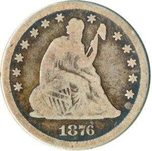 1876 UNITED STATES SEATED LIBERTY QUARTER DOLLAR / 25C    #WT4830