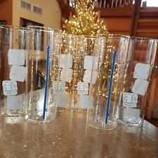 Oliver Crate & Barrel Barware Tall Tumbler 6 Ice Cube Swizzle Stick Doodle Dude