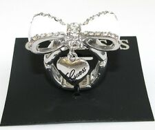 NEW GUESS SILVER TONE,WHITE+GOLD,BLACK CRYSTAL BOW+DANGLE HEART STRETCHY RING