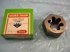"""New 1-8 NC Hexagon HSS Re-Threading Die 2"""" Size Hex x 63/64"""" Thickness"""