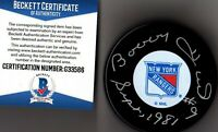 BECKETT-BAS BOBBY HULL #9 SEPT, 1981 AUTOGRAPHED-SIGNED NEW YORK RANGERS PUCK 66