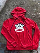 PAUL FRANK S/M Red Full Zip Hoodie Julius Monkey Sweatshirt Hood