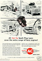 1959 Print Ad GM General Motors AC Tractor Spark Plugs farm engines