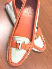 Tory Burch Natural and Orange Casey Loafer Mocs Driving Sole 7M