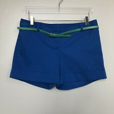 Express Womens Shorts Blue Belted Cuffed Straight Leg Flat Front Sateen Size 8