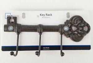 """Iron Finish Key Shaped 3 Hook 9.5"""" Wall Rack Antique Style New"""