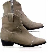WOMENS OFFICE UNMENTIONABLES GREY SUEDE WESTERN STUD ANKLE BOOTS SIZE UK 4