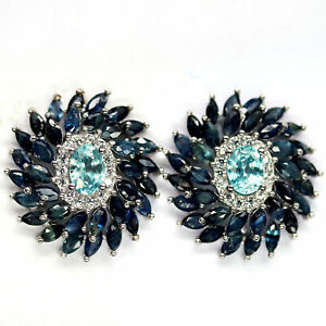 NUTURAL HEATED BLUE SAPPHIRE WITH CAMBODIA ZIRCON & CZ EARRINGS 925 SILVER