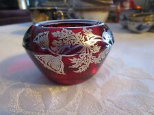 "Vintage Silver Filigree Overlay on Red Glass Vase trinket jar 3"" x 1.75"" Deblot"