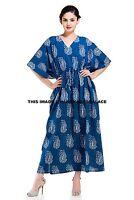 Paisley Print Blue Caftan Indian Bohemian Nightwear Dress Long Kaftan Maxi Tunic
