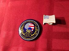 50th Anniversary of the Korean War Commemoration Usa Button and Usa Flag Pin
