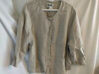 FLAX  Linen Button-up Mid sleeve Loose Natural Beige Shirt Generous 2G