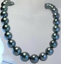 "huge 18""11-12MM GENUINE TAHITIAN BLACK BLUE ROUND PEARL NECKLACE"