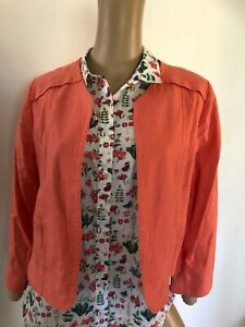 COUNTRY ROAD long sleeve orange cropped linen blend jacket 12 as new