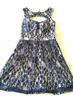 Speechless women's Juniors size 5 navy lined Sleeveless Fit And Flare lace dress