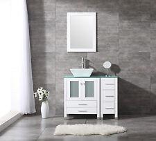 "36"" Square Ceramic Sink Bathroom Vanity Cabinet Solid Wood Modern Design Mirror"