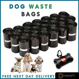 CATS & DOGS POO BAGS - QUALITY UNSCENTED BIODEGRADABLE WASTE BAG EXTRA STRONG