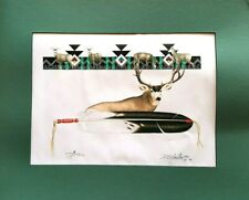 SIGNED MATTED PRINT by COCHITI ARTIST DOMINIC ARQUERO * DEER W/ FEATHER *  2002