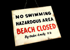 JAWS Amity Beach Closed Distressed Wooden Sign Handmade Prop
