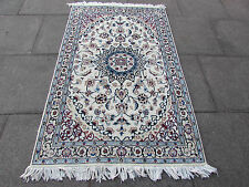 Fine OLD Traditional Hand Made PERSIAN Rug Wool Silk Cream Carpet Rug 172x107cm
