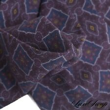 NWOT Made in Italy 100% Wool Challis Deep Aubergine Blue Medallion Pocket Square